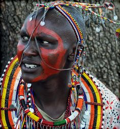 Traditional Maasai boma (village) in the Mara -- this woman is the chief's wife