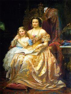 Queen Marie of Hanover and her daughter Mary by Wilhelm von Kaulbach (Schloß Marienburg)
