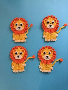 Lion Pattern Here's a free crochet pattern of this crochet lion. Get it along with many other crochet animals at Kerri's Crochet.Here's a free crochet pattern of this crochet lion. Get it along with many other crochet animals at Kerri's Crochet. Crochet Applique Patterns Free, Crochet Flower Patterns, Crochet Motif, Crochet Flowers, Crochet Stitches, Knitting Patterns, Crochet Appliques, Crochet Edgings, Cross Stitches
