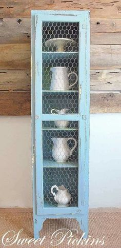 cabinet reno with chicken wire doors via Fife Christensen Khoundet of Sweet Pickins. -- Wilsson Stordahl, maybe a use for that chicken wire? Furniture Projects, Furniture Makeover, Home Projects, Diy Furniture, Furniture Design, Country Decor, Rustic Decor, Farmhouse Decor, Farmhouse Furniture