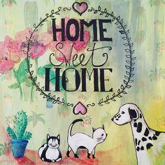 Mixed Media #papier #verf #potlood #inkt Home sweet Home