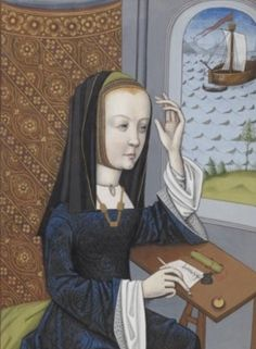Her upraised arm shows three layers of clothing. Her coif also fully covers her head. Laodamia, Miniature extraite des Héroïdes d'Ovide, 1496 et 1498
