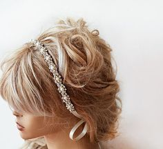 Wedding headband, Bridal Headband, Bridal Hair Accessory, Rhinestone and Pearl headband, Wedding hair Accessory Your products are presented in a