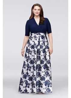 Surplice Plus Size Ball Gown with Jacquard Skirt B3709706