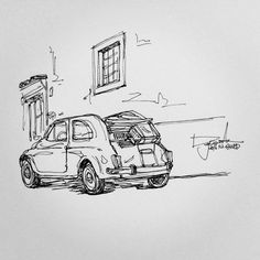 Daily Drawing, Line Drawing, Pen Sketch, Art Sketches, Car Drawings, Pencil Drawings, Vaporwave, Perspective Art, Patent Drawing