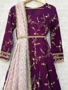 Deep Purple Twisted Threads Anarkali with baby pink sequins dupatta and yellow tassels. Click on image to see price. #Frugal2Fab