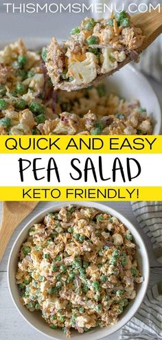 This low carb pea salad is an easy and delicious cold side dish perfect for all of your summer picnics and barbecues. #keto #peasalad