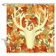 Autumn leaves and deer Shower Curtain on CafePress.com