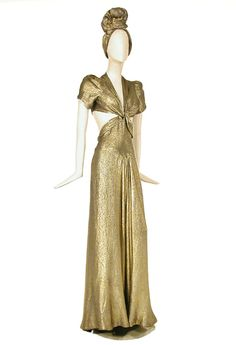 Jay Thorpe Gold Lame Dress and Turban,   American, 1940s -- This is pure Barbara Stanwyck. I love it. Can't figure out if it's more Sugarpuss O'Shay or Jean Harrington.