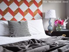The Weathered Door: Coral Geometric Headboard (UO Knock-Off for under $100)