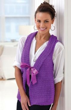 Stunning Vest Crochet Pattern. I am not sure about the bow