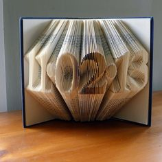 Folded Book Art - Paper Anniversary Gift for Him or Her - Date - Unique  Birthday Gift - Wedding Decoration -  6 Numbers - Save the Date