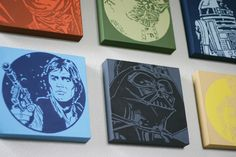 DIY Boy's room Star Wars art... (or girls room. People, you need to remember that Star Wars is for everybody ;)