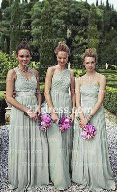 27dress.com custom made light green bridesmaid adult dresses chiffon floor length long evening dresses