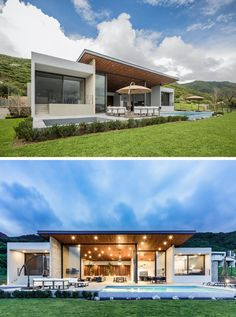 This modern house opens up to a backyard with a sunken firepit, an outdoor lounge with an umbrella, a swimming pool and a landscaped lawn. Located under the roof overhang is an outdoor dining area too. #Backyard #SunkenFirepit #SwimmingPool #ModernHouse