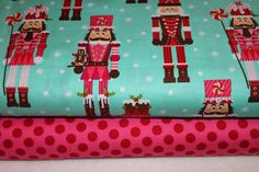 Michael Miller Christmas Fabric Duo Nutcrackers Aqua and ta dot pink 2 yards total