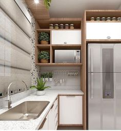 A imagem pode conter: área interna Kitchen Room Design, Kitchen Cabinet Design, Modern Kitchen Design, Home Decor Kitchen, Interior Design Kitchen, New Kitchen, Home Kitchens, Home Decor Furniture, Kitchen Furniture
