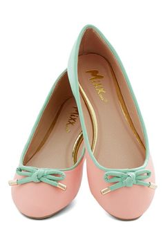 Admire the Adorable Flat - Flat, Faux Leather, Pink, Mint, Solid, Bows, Pastel, Colorblocking, Good, Casual