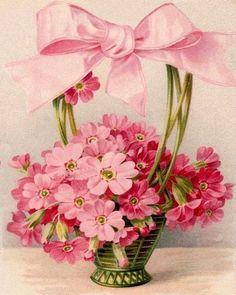 Free printable vintage postcard pink flowers in basket easter spring