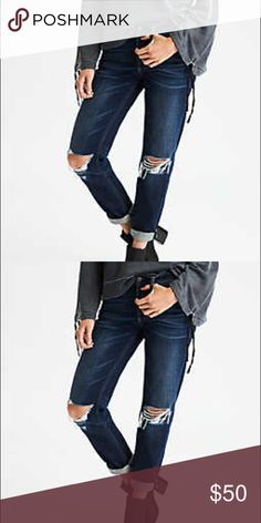 """American Eagle Outfitters Tomgirl Jean Sold Out!!! NWT American Eagle 🦅 Outfitters Tomgirl Jean Sold out online only style. Relaxed but not loose. Cool without trying too hard. Rigid cotton denim with no stretch. Personalized with time and better with every wear. The beauty is in the breakdown: deconstructed at the knee, rolled hem, sits low on hip 10"""" rise, relaxed thigh, tapered through leg. American Eagle Outfitters Jeans Ankle & Cropped"""