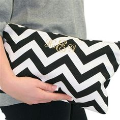Monogrammed chevron clutch- I need a sewing machine STAT!!! I could so make this.