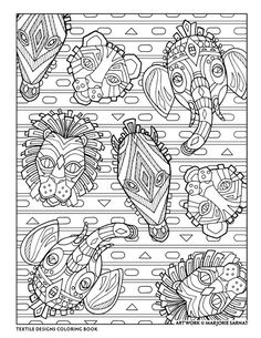 Creative Haven Textile Designs Coloring Book By Marjorie Sarnat African Masks