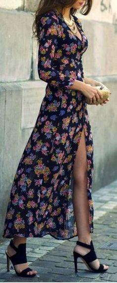 Street fashion slit floral maxi dress.