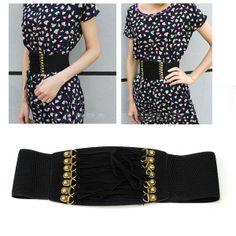 Fashion Women Lady Rivet Elastic Buckle Wide Waist Belt Waistband Corset Sexy | eBay