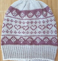 Hand-knitted hat in a beautiful colors in soft wool blend for girls and women