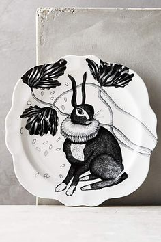 Rabbit Wild Masquerade Canape Plate {for the dining room plate wall}