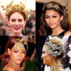 "Trendy Hair accessory at the Met Gala 2015: Glamorous headpiece. Karen Elson, Zendaya, Rihanna and Kate Hudson at the Metropolitan Museum of Art Costume Institute Gala 2015 ""China: Through the Looking Glass""."