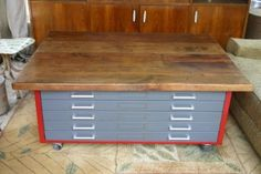 VINTAGE INDUSTRIAL REPURPOSED FLAT FILE CABINET ARCHITECT COFFEE TABLE  Ebay seller luthy7 in Austin $695