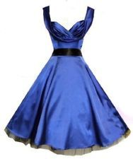 Blue satin retro 50s vintage style pin up rockabilly Possible Bridesmaid dress