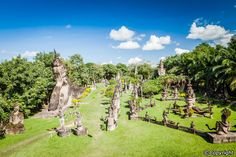 Buddha Park (aka Xieng Khuan) is a famous sculpture park with more than 200 religious statues including a huge 40-metre high reclining Buddha image. The best spot for photography here is on top of the giant pumpkin structure standing about three stories high. The entrance is crafted