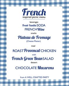 French Inspired Picnic Menu // recipes for a delicious French picnic!