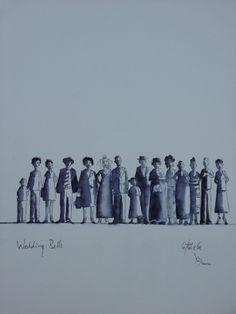 Title : The Wedding by Darren Aiken Line Wash on paper A3, Miniatures, Concept, Watercolor, Sculpture, Paper, World, Artwork, Movie Posters