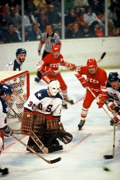 """1980 US Olympic Hockey Team Goalie Jim Craig playing against the USSR. """"Do You Believe in Miracles? Team Usa Hockey, Olympic Hockey, Hockey Goalie, Hockey Teams, Hockey Players, Hockey Stuff, Hockey Room, Hockey Rules, Us Olympics"""