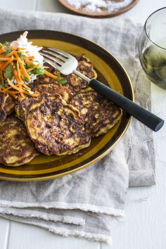 Spiced Cauliflower Fritters with Coriander and Carrot Yoghurt by Nadia Lim | NadiaLim.com