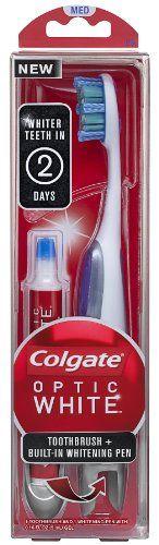 Colgate Optic White Toothbrush Plus Whitening Pen, Compact Head Medium Colgate  $12.99
