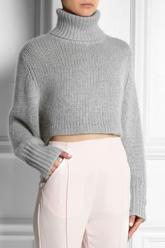 Dion LeeCropped knitted turtleneck sweater - Grey