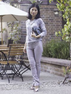 Monochromatic grays - jeans and a chamo sweater from Janise at Mama In Heels.