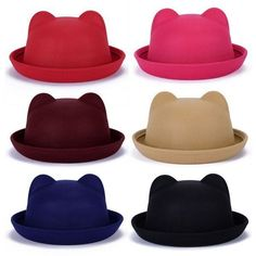 Chic Women Lady Wool Horn Parent-Child Bowler Fedora Hats Nice Derby Cat Ear Cap | Clothing, Shoes & Accessories, Women's Accessories, Hats | eBay!