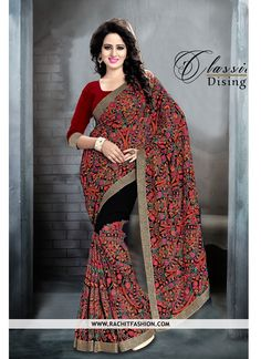 Viscose Georgette Designer Saree in Red and Black Colours.