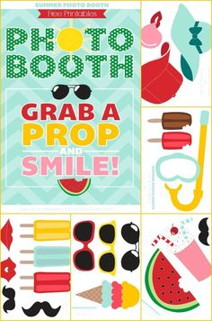 Summer Photo booth FREE PRINTABLES!!! Perfect for parties!