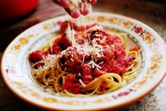 pioneer woman spaghetti and meatballs.  Meatballs are great! Haven't tried the sauce