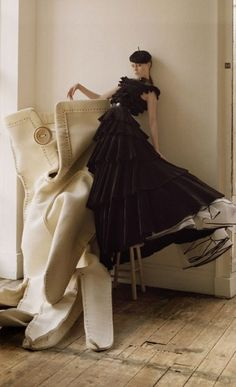 Tim Walker shoots Giles Deacon's gown for an editorial in 2007. The gown is included in the exhibition.