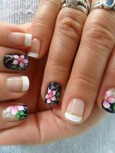 Cute Pedicure Designs, Nail Tip Designs, Fingernail Designs, Cute Pedicures, Magic Nails, Cat Nails, French Tip Nails, Flower Nails, Stylish Nails