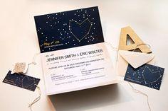 Night Sky Star Wedding Invitation - via Etsy. Fits with our vintage/star theme. Wedding Stationary, Wedding Invitation Cards, Wedding Cards, Perfect Wedding, Dream Wedding, Science Wedding, Star Wedding, Night Skies, Wedding Decorations