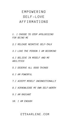 Our list of empowering self-love affirmations Today we want to talk about affirmations. But, these are not just any affirmations. Today we are discussing empowering self-love ones designed to lift your confidence and boost your self-esteem. Positive Self Affirmations, Positive Affirmations Quotes, Affirmation Quotes, List Of Affirmations, Healing Affirmations, Morning Affirmations, Positive Quotes Anxiety, Positive Quotes About Love, Positive Memes