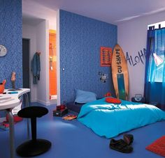 Add a surfer light from Dianoche Designs to finish off this room: http://www.dianochedesigns.com/catch-the-next-wave/  teen boys' room